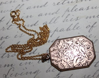 1920's Large Etched Locket by JFSS- John F. Study