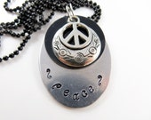 Hand stamped peace necklace