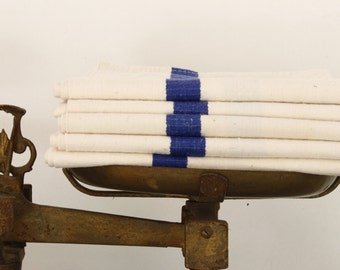 FIVE French Torchons Flax Linen With Double Blue Stripe and Monogram LG....Listing is for FIVE Torchons.