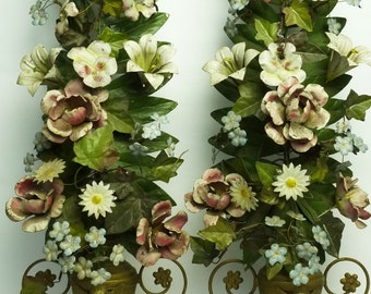 French Toleware Altar Girandoles.....RARE Antique PAIR of Original Tole Altar Floral Displays...Reliquary..........Nordic Living...