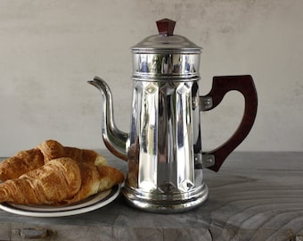 Vintage French Bistro Coffee Pot....Chrome Plated Copper....Bakelite Handle....Kitchen Decor.
