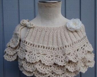 Wedding shawl, bridal shawl, wedding accessories, bridal accessories, bridesmaid gift, knitting shawl, wedding wrap, handmade flower, gift