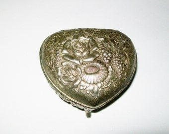 Vintage Silver Plate Rose Trinket Box Jewelry Box Ring Box Made in Japan