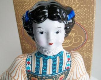 Vintage Avon Porcelain Lavender Sachet Doll Collectible 1980's