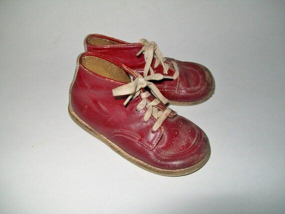 Vintage Toddler Boy Shoes Burgundy Leather Walking