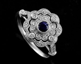 18K White Gold Art Deco Style Round Blue Sapphire Pave Diamonds Flower Halo Engagement Ring