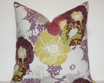 Decorative Pillow Cover - Floral in Purple Green Yellow Violet - Accent Pillow - Throw Pillow - Autumn