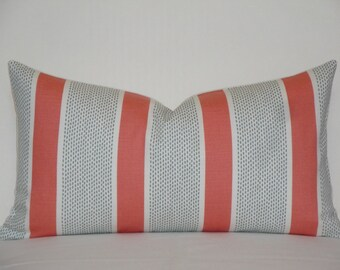 Duralee - Tilton Fenwick Decorative Pillow Cover - Coral and Mint - Stripe Pillow - Accent Pillow - Chair Pillow