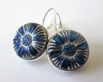 Vintage glass button earrings, blue & silver floral design, silver leverbacks, medium size buttons