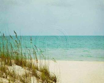 Sea Oats Photo Dunes Photography, Gulf Coast Tropical Beach Art, Peaceful Ocean Cream Aqua Green Coastal Print, Sea Grass Dune Cottage Decor