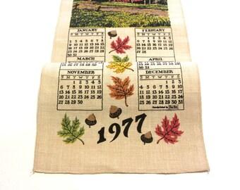 Kay Dee 1977 Covered Bridge Linen Calendar Towel Autumn Leaves and Acorns Retro Home Decor