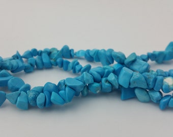 "250 Beads - 1 Strand 34"" 5-8mm Dyed Blue Howlite Chip Beads Stone Bead BD0173"