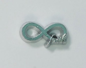 1 PC - Faith Infinity Silver Charm for Floating Locket Jewelry F0405