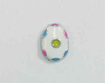 1 PC - Easter Egg Enamel Silver Charm for Floating Locket F0399