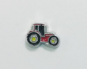 1 PC - Farm Tractor Enamel Silver Charm for Floating Locket Jewelry F0340