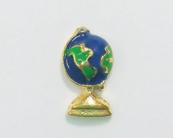 1 PC - Globe Earth Teacher Enamel Silver Charm for Floating Locket F0318