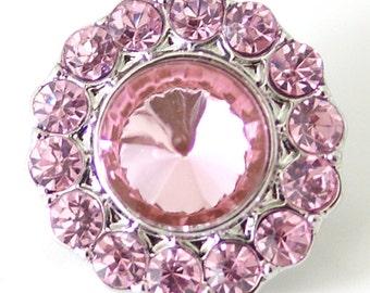1 PC 18MM Pink Rhinestone Silver Snap Candy Charm kb7100 CC1504