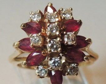 14k Ruby and Diamond Cocktail Ring size 7.5