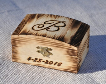 Personalized Ring Bearer Box-Rustic Wedding- Ring Bearer Pillow Alternative