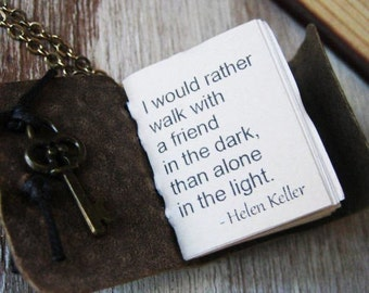 book  jewelry friendship necklace quote by helen keller miniature journal  pendant for women handstiched leather journal
