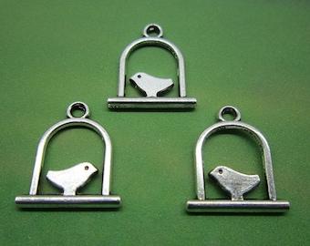 Bird Charm 10 Bird Perch Charms Antique Silver Tone 17 x 15 mm - ts898