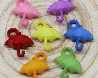 18 Umbrella Charms Color Mix Plastic Charms 16 x 14 mm U.S Seller - pa160