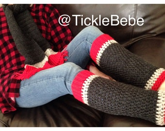 Teen - Adult Leg Warmers - Sock Monkey Inspired - Red, Gray Tweed, Charcoal Gray  - Handcrafted - Accessory