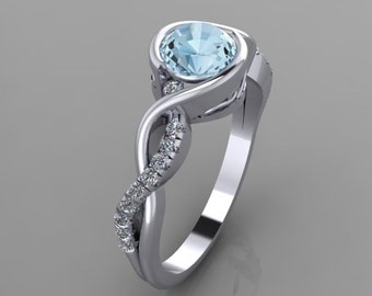 Infinity style low profile engagement ring