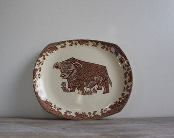 Retro English Ironstone Beefeater Series Bull Platter // Steak and Grill Plate // Brown and White // Floral // Tableware