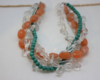 Orange and Green statement necklace with Crystal
