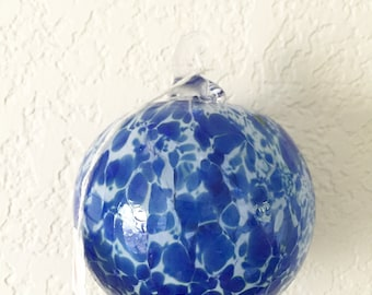 Blown Glass Ornament, Two Toned Blown Glass Ball, Witches Ball, Ornament, Christmas Ornament, Glass Ornament