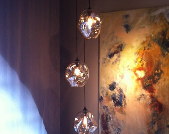 Pendant Light Set, 3 pc set lighting, Glass Lighting, Blown Glass Lighting, Blown Glass Pendant Lights, Lighting