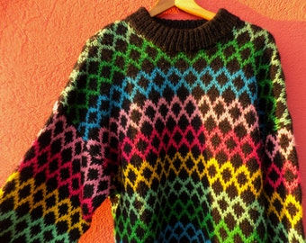 Handmade Vintage woolen Colorful Sweater