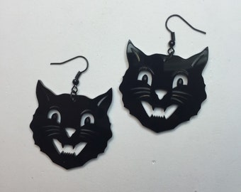 Vintage halloween cat earrings