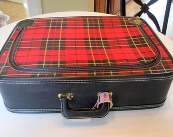 Mid Century Plaid Suitcase  - Red Luggage - Travel Stickers Storage Display