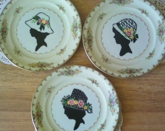 Set of 3 Hand Painted Victorian Silhouette Plates