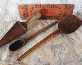 Four Vintage Wooden Treen Ware, Hand Carved Spoons, Wood Sign and Rustic Masher, Treenware