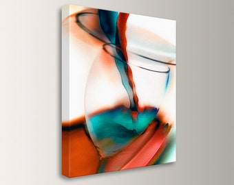 "Wine Art, Mid Century Modern, Wine Glass - Restaurant Decor - Canvas Print, Red Teal Black and White, Wall Art - "" Wine """