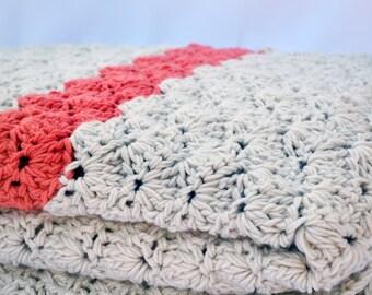 King size cream and coral crochet blanket, afghan, lap blanket, bedding, winter blanket, wedding gift, king size blanket, thick blanket