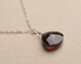 Garnet Necklace, Garnet Necklace, Rose Red Gemstone Necklace, January Birthstone, Healing Gemstone