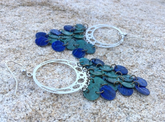 Blue Mussel Shell Chandelier Earrings