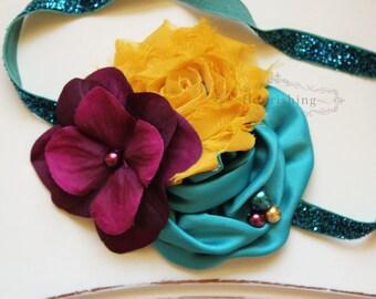 Plum, Teal Mustard headband, teal headbands, newborn headbands, plum headbands, autumn headbands, photography prop