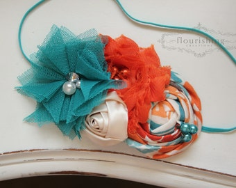 Teal Orange and Cream headband, orange headbands, newborn headbands, fall headbands, autumn headbands, photography prop