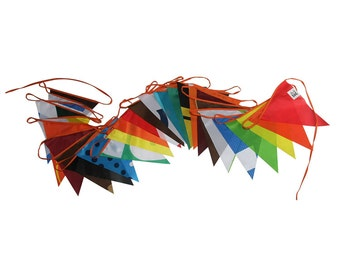 Multicoloured bunting flags - outdoor bunting waterproof fabric banner, pennant flags, 14+ meters - 12.5+ yard long