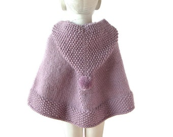Little Girl Alpaca Sweater, Baby Hooded Poncho, Flower Girl Knit Cape, Toddler Lilac Coat, First Birthday, Made To Order