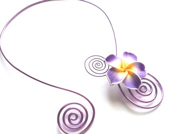 Purple Necklace, Yellow Necklace, Aluminium Necklace, Flower Necklace, Floral Necklace, Colorful Necklace, Bridesmaid Necklace, Gift For Her