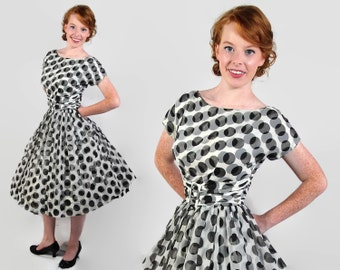 50s 60s Polka Dot Dress, Harco Original, Black and White, Party, Vintage Wedding