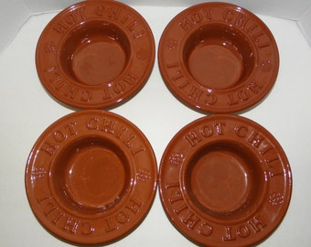 s/4 Hot Chili Bowls  WIELAND WARE Glazed Clay Pottery