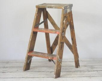 Vintage Wood Ladder Step Ladder Step Stool 2 Foot Ladder