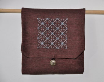 embroidered linen pouch